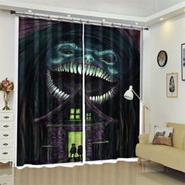 Figure And Big Mouth Monster Pattern 3D Polyester Custom Halloween Scene Curtain For Living Room