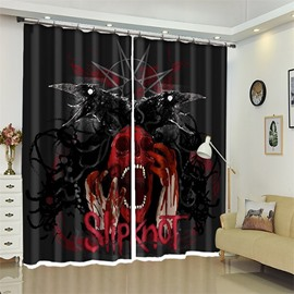 Crow And Skull Pattern 3D Polyester Custom Halloween Scene Curtain For Living Room