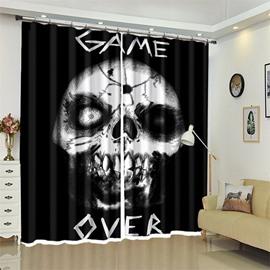 Skull And Letter Pattern 3D Polyester Custom Halloween Scene Curtain For Living Room
