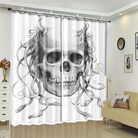 Skull And Snake Pattern 3D Polyester Custom Halloween Scene Curtain For Living Room