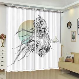 Spider And Pattern 3D Polyester Custom Halloween Scene Curtain For Living Room