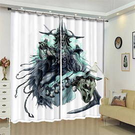 Orcish And Skull Pattern 3D Polyester Custom Halloween Scene Curtain For Living Room