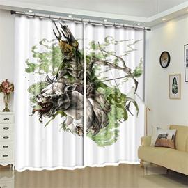 Orcish Pattern 3D Polyester Custom Halloween Scene Curtain For Living Room
