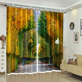 Autumn Forest Green Lush Trees Print 3D Polyester Curtain