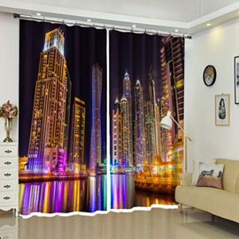Night Portrait of Modern City Life 3D Vivid Curtain