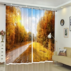 Yellow Tree-lined Country Road In Autumn Polyester Window Curtains
