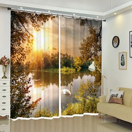 3D Print Curtains Swan In The Lake Sunset Polyester Curtains for Living Room Bedroom No Pilling No Fading No off-lining