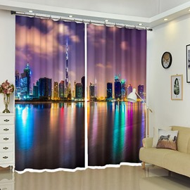 City's Colorful Reflections In the Water 3D Creative Curtains