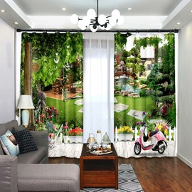 Wood Bridge In Garden 3D Scenery Polyester Window Curtains