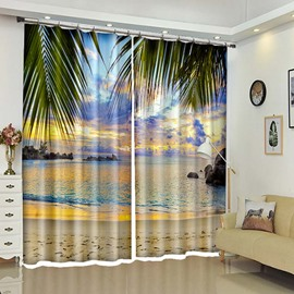 Sunset Beach Beautiful Glow 3D Window Curtains Drapes