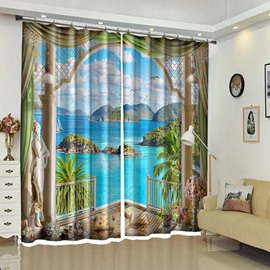 Wonder Land View Of Your Window Drapes,Palm Trees and Sea