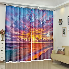 Evening Glow Above Tide Natural View 3D Curtain for Room