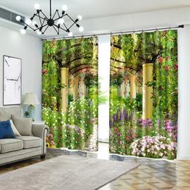 Green Arch Garden Print Polyester Decorative 3D Curtain