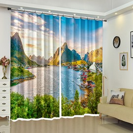 The Small Village In the Mountain With River Scenery Curtain