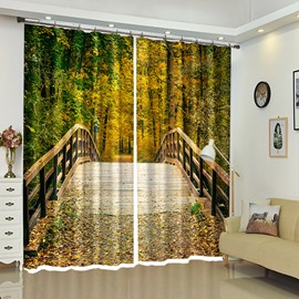 Wooden Bridge Into Deep Forest Beautiful Scenery 3D Bedroom Curtain