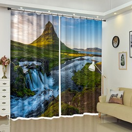 Mountain And Stream Of River Scenery In Village 3D Window Curtain