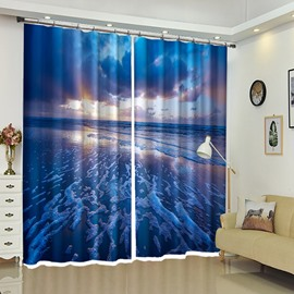 Tide Ebbed Beach Secnery Polyester 3D Curtain for Restroom
