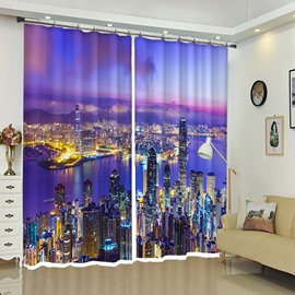 Hong Kong Night City View City Neon Curtain 2 Drapes