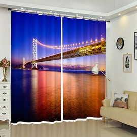The Sea Bridge With Light In The Night 3D Curtain