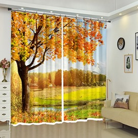 Forest in the Distance Yellow Leaves Scenery Curtain 2 Pieces