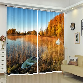 Still Boat in River Near Yellow Forest Natural Scenery 3D Curtain