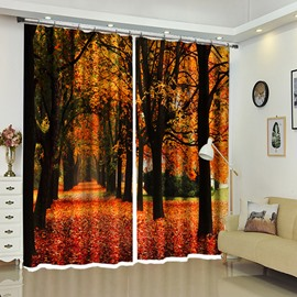 Red Carpet of Leaves Forest Landscape Curtain 2 Pieces Blackout