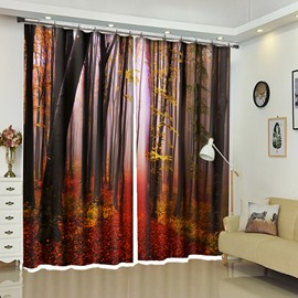 Classic Scenery Fallen Red Leaves of Tall Trees Decorative Curtain