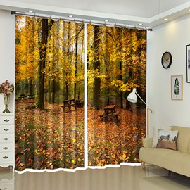 Wood Table Covered by Leaves Autumn Scenery Window Curtain Blackout