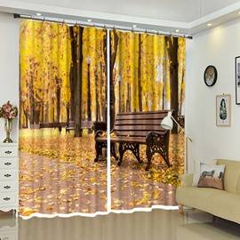 Bench in Park Yellow Leaves Behind 3D Polyester Curtain