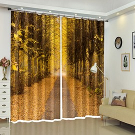 Natural Yellow Leaves Carpet Straight Path View 3D Curtain