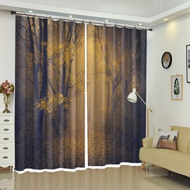 Yellow Leaves Dim Light Tall Tress Scenery Curtain Blackout