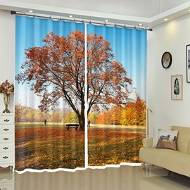 Tree on Plain Red Leaves Autumn Theme Curtain Decoration for Bathroom