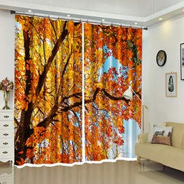 Red Leaves of Treetop Printed Landscape Curtain for Bathroom