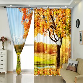 Yellow Tree Along the River Natural View 3D Curtain for Dining Room