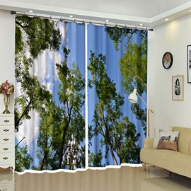 Lying in Forest Trees Under Sky View Curtain for Bathroom