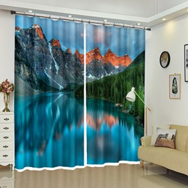 Oil Painting-like View Mountain and Lake 3D Decorative Curtain