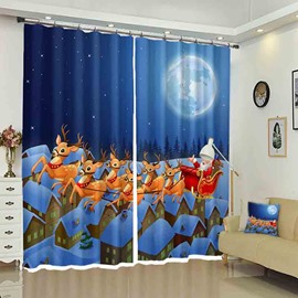 Santa in a Sleigh Pulled by Reindeer Christmas Cartoon Curtain