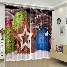 Brown Star and Balls for Christmas Holiday Pattern Printed Curtain