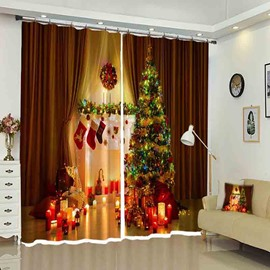 Candlelight Shining Socks on Wall Christmas Pattern Curtain