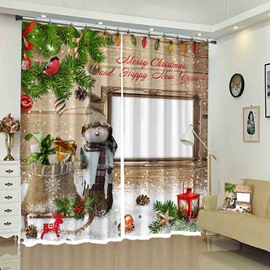 Snowman Merry Christmas 3D Color Printed Drapes for Holiday
