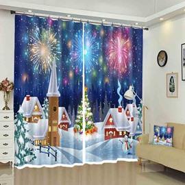 Firework Above Snowed Houses Christmas Pattern 3D Curtain