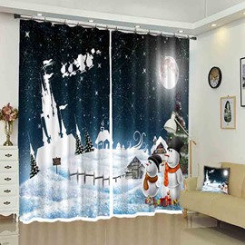 Snowmen and White Castle Christmas Atmosphere Curtain for Holiday