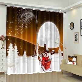 Santa in Sleigh White Moon Snow Ground Christmas Curtain