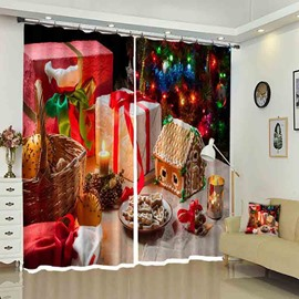 Gifts on the Table Ginger House Biscuit Christmas Curtain for Kids