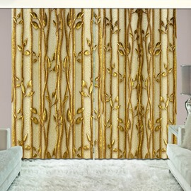 Golden Plants Shading Curtain Light up Room 3D Vivid 2 Panles