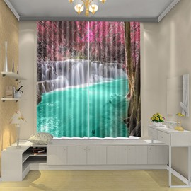 View in Wonder Land Green River Vivid 3D Drapes Shower Blackout