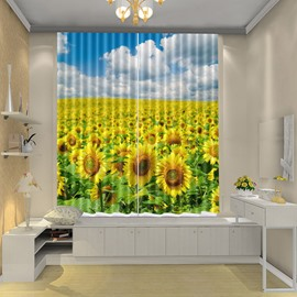 Sunflower in the Field Yellow Floral Curtain Shower Drapes