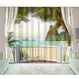 3D Wonderful Sunny Day in Beach with Palm Trees Printed Custom Polyester Curtain