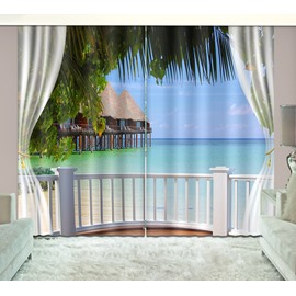 3D Printed Waves and Blue Sky Seaside Natural Scenery Custom Living Room Curtain