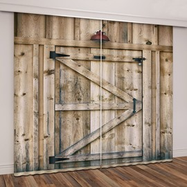 3D Printed Rustic Country Barn Wood Door Vintage Rustic Theme Curtain